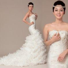 Diyouth Best Mermaid/Trumpet Sweetheart Satin Wedding Dresses