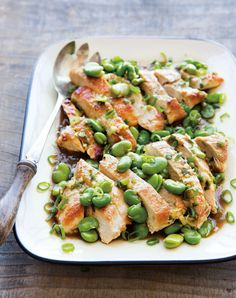 Chicken Breasts with Fava Beans