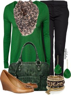 """""""School Days #22 - Green and Leopard!!"""" by angkclaxton on Polyvore"""