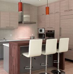 Contemporary Kitchen Design with Small Wooden Kitchen Bar and Orange Pendant Lights. #Pendantlight #Lighting http://www.shelights.com.au