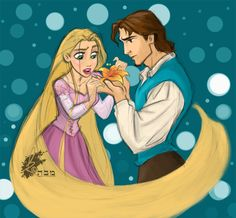 Rapunzel and Flynn by *Fayestardust