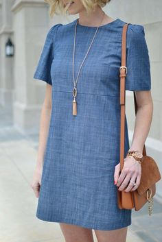 WAYF Little Chambray Dress - Straight A Style
