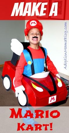 Build a mario kart halloween costume out of a cardboard box. This mario kart halloween costume is cheap to make and an easy mario kart halloween costume! Mario Costume Diy, Mario Kart Costumes, Mario Halloween Costumes, First Halloween, Cool Costumes, Halloween Kids, Halloween Party, Costume Ideas, Halloween Sewing