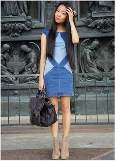 Платье рубашка из старых джинс