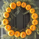 Circle Pumpkin Wreath can be made with real or artificial mini pumpkins - On Sutton Place
