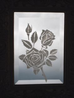 Image detail for -GLASS ETCHED ROSES ON SMALL BEVELED MIRROR