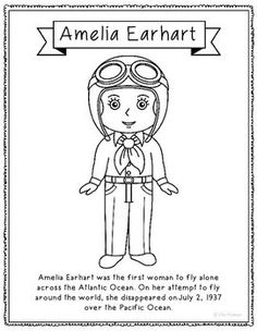 Amelia Earhart Airplane Crafts And Preschool Lesson Plans Amelia Earhart Coloring Page