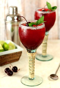 Cherry Mint Margaritas with Mint and Lime are a super refreshing cocktail for the dog days of summer.