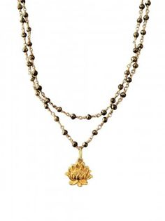 Pam Older Designs Double Stranded Lotus Flower Charm on Pyrite Chain