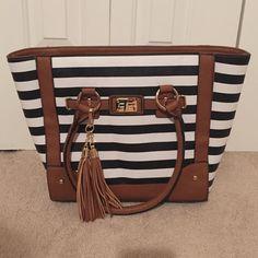 Handbag Brand new black and white striped fashion bag Bags Totes