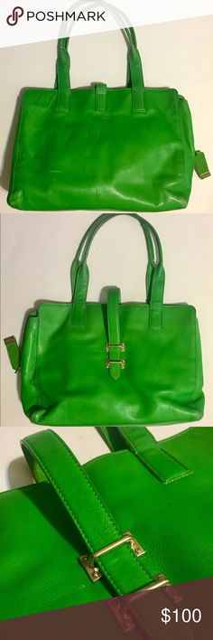 """Foley + Corinna """"Simpatico"""" Emerald Satchel """"Simpatico"""" emerald satchel approx. 14""""x11""""x3.5"""". Two carrying straps and one decorative overlapping strap. Large middle zipper pocket w/storage space on either side, 2 slip pockets  & one zipper pocket on interior sides. Exterior has some scuffs/fading on bottom corners of bag & some areas on straps. It also has some white scratches on the side that says Foley+Corinna. Small dark spot to the right of overlapping decorative strap. Overall interior…"""