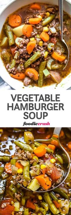 This simple hamburger soup is loaded with vegetables and is an incredibly easy weeknight comfort food dinner because more than likely you'll have all of the ingredients on hand and ready for soup thanks to your pantry, fridge, and/or freezer. | foodiecrush.com #recipes #soups #hamburger #vegetable #dinnertime #easy