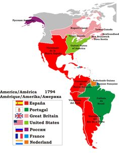 Political map of the Americas in 1794 Century, Politics) History Memes, History Facts, World History, Planet Map, New Spain, Colonial America, Historical Maps, Teaching Spanish, Planer
