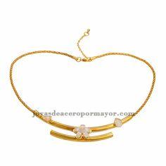 gargantilla de flores oro dorado acero para mujeres -SSNEG501384