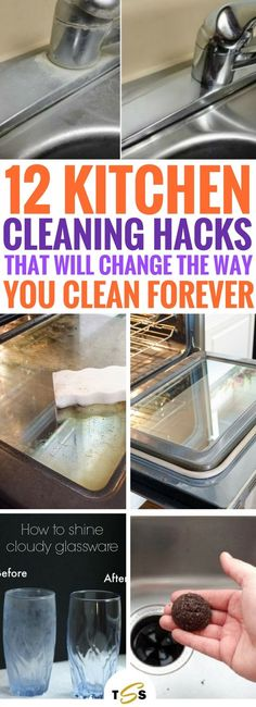 These 12 Kitchen Cleaning Hacks are THE BEST thing ever. So many useful and fantastic ways to clean your kitchen that actually work. I'm honestly stunned right now! Definitely going to be using these genius home hacks when I clean again. So easy and cheap Cleaning Hacks Tips And Tricks, Organizing Hacks, Deep Cleaning Tips, House Cleaning Tips, Spring Cleaning, Diy Hacks, Kitchen Cleaning Tips, Cleaning Recipes, Best Cleaning Products