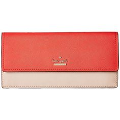 Kate Spade New York Cameron Street Alli (Prickly Pear Multi) Wallet ($128) ❤ liked on Polyvore featuring bags, wallets, leather billfold wallet, bill fold wallet, snap closure wallet, billfold wallet and leather bags