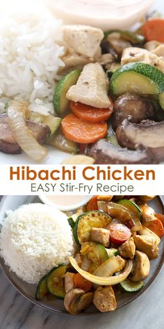 Recipes Videos Japanese style Hibachi Chicken made with sautéed vegetables served over rice and topped with YUM YUM SAUCE! An easy weeknight dinner that will have you feel like you're eating out! Hibachi Vegetables Recipe, Hibachi Recipes, Sauteed Vegetables, Couscous, Vegetable Recipes, Chicken Recipes, Hibachi Chicken, Asian Recipes, Healthy Recipes
