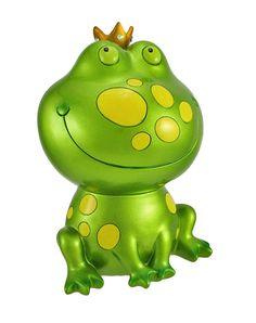 Metallic Green Frog Prince Coin Bank