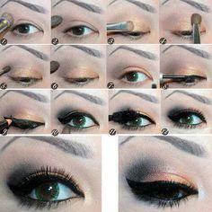 Maquillage yeux charbon/orange