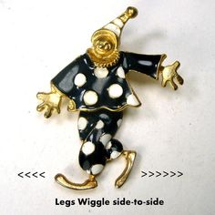 Black n White Dancing CLOWN Pin His legs by VintageStarrBeads