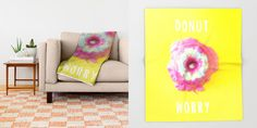 """""""DONUT WORRY 2 (with text)""""  $49.00  https://society6.com/product/donut-worry-2-with-text_throw-blanket#64=437  MADE BY: NAOMI ROTHENGATTER - DIAZ"""