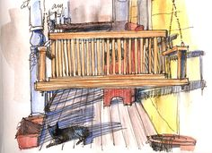 January porch swing by Cathy Johnson ... artist quote........    It was so warm out this afternoon I couldn't resist taking my Nexus sepia pen, Rembrandt watercolor pencils and Niji waterbrushes to the front porch. That's Osiris, lounging in the sun and casting a long shadow...    And yes, the shadows DID keep moving, why do you ask?*G* The temperature dropped about 20 degrees, too, brrrrr...