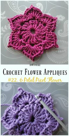 6 Petal Picot Flower Free Crochet Pattern -Easy #Crochet #Flower Appliques Free Patterns