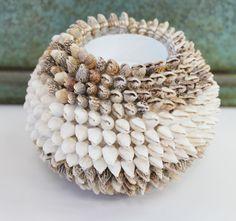 Striped Nassa Shell Ball Votive Candle - Beach Wedding Decor - Nautical Party Centerpiece - California Seashell Company