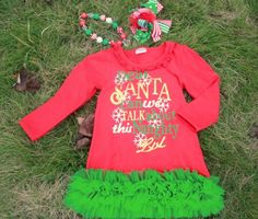 Dear Santa Dress Set  Price: $34.99, Free Shipping Options: 2t, 3t, 4t, 5, 6 *includes everything pictured* click to purchase