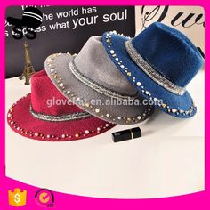 2017 New Products Felt Hats Cheap Fedora Hat for Women Hat with Pearl Chain