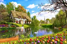 Bronwyn - 28) 1,000+ Plays - Lakeside Tulips-Swan~ Davison Painted Cottage, Cottage Art, Garden Cottage, Pictures To Paint, Art Pictures, Landscape Paintings, Watercolor Paintings, Lakeside Cottage, Puzzle Art