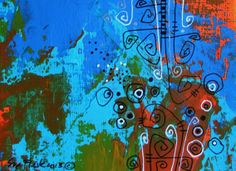 ACEO 2013 Original Painting Acrylic Pen colourful - Abstract no 4 by Sue Flask