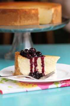 Best Cheesecake Recipe With Blueberry Topping. I made this cheesecake today, and it was very simple to make yet yields a big WOW! http://natashaskitchen.com/2009/11/23/best-cheesecake-with-blueberry-topping/