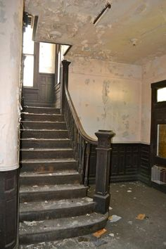 restoring wainscoting | Historic Foyer Wainscoting And Staircase Before Restoration Historic ...