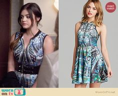 Aria's abstract patterned zip-front dress on Pretty Little Liars.  Outfit Details: http://wornontv.net/34581/ #PLL