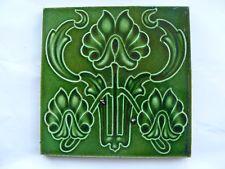 Antique Majolica Art Nouveau Green Tile Stylised Flaming Plant / Flowers VGC