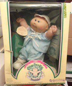 The exact Cabbage Patch Kids preemie I still have (though mine long ago came out of the box). 1980s Childhood, My Childhood Memories, 1980s Toys, Retro Toys, Muñecas Cabbage, Cabbage Patch Kids Dolls, 80s Kids, Sweet Memories, Old Toys