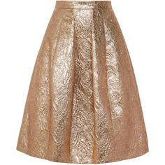 Oscar de la Renta Pleated metallic brocade skirt ($775) ❤ liked on Polyvore featuring skirts, gold, brown skirt, oscar de la renta skirt, brown knee length skirt, brown pleated skirt and knee length pleated skirt