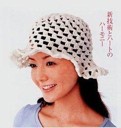Bonnets et chapeaux avec with diagram Crochet Adult Hat, Crochet Summer Hats, Free Crochet, Crocheted Hats, Crochet Accessories, Hair Accessories, Bonnet Rose, Crochet Woman, Brim Hat