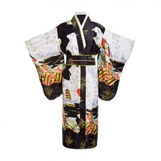 Black Woman Lady Japanese Tradition Yukata Kimono Bath Robe Gown With Obi Flower Vintage Evening Party Dress Cosplay Costume - lake blue One Size Kimono Yukata, Kimono Floral, Kimono Dressing Gown, Traditional Japanese Kimono, Japanese Female, Island Outfit, Very Short Dress, Vestidos Sexy, Long Kimono