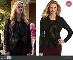 Rebekah's black pleated leather jacket on The Originals.  Outfit Details: http://wornontv.net/41755/ #TheOriginals