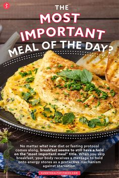 """No matter what new diet or fasting protocol comes along, breakfast seems to still have a hold on the """"most important meal"""" title. When you skip breakfast, your body receives a message to hold onto energy stores as a protective mechanism against starvation. #sunnyhealthfitness #importantmeal #breakfast Health And Fitness Articles, Health Fitness, Recipe Of The Day, Nutrition, Diet, Meals, Breakfast, Morning Coffee, Meal"""