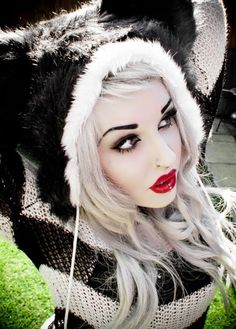 Fur Hoodie, Pinup Makeup, Lip Ring and Cool Gray Hair! Gorgeous...