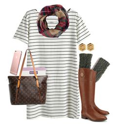 """""""t-shirt dresses for fall"""" by emmig02 ❤ liked on Polyvore featuring Look by M, Vineyard Vines, Tory Burch and Louis Vuitton"""