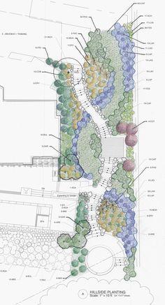 Hillside Garden by Arterra Landscape Architects Landscape Design Plans, Garden Design Plans, Landscape Architecture Design, Landscape Architects, Sloped Garden, Hillside Garden, Planting Plan, Plan Drawing, Diy Garden Projects