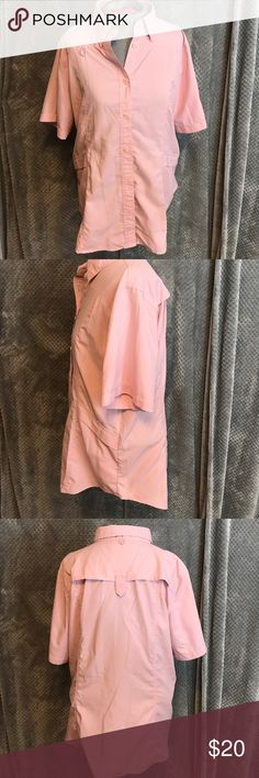 "Reel legends camping fishing pink shirt Two front Velcro pockets. It's that outdoorsy type fabric. Wear it on the boat!  Bust 22"". Length 26"" reel legends Tops Button Down Shirts"