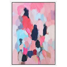 "Pink Contemporary I 37 3/4"" High Framed Canvas Wall Art"