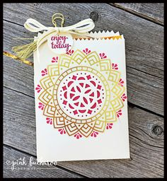 Mini Treat bag with two of the Eastern Elegance gold overlay stickers by Stampin' Up! Designed by Erica Cerwin @ Pink Buckaroo Designs