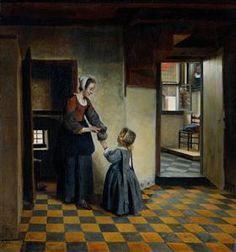 Woman and a Child in a Pantry - Pieter de Hooch