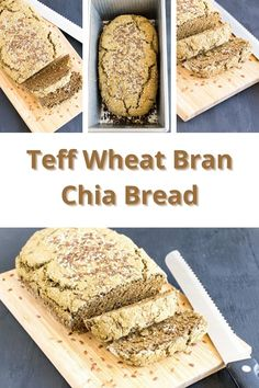 This yeast free Teff Wheat Bran Chia Bread is made with very healthy ingredients and is low in carbohydrates as well. Its an easy bread with lots of taste and is fiber rich too. Vegan Bread, Vegan Cake, My Recipes, Bread Recipes, Vegan Muffins, Grain Foods, Easy Bread, Recipe Community, Delicious Vegan Recipes